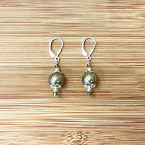 925 Silver Olive Imitation Pearl Green Crystal Drop Earrings