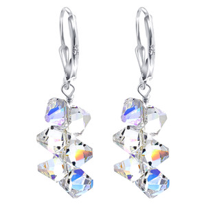 Clear Crystal Drop Handmade 925 Silver Earrings