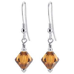 Bicone Shape Brown Crystal 925 Silver Drop Earrings