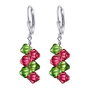 Sterling Silver Cluster Style Swarovski Elements Pink & Green Crystal Leverback Drop Earrings