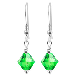 Light Green Crystal 925 Silver Drop Earrings