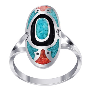 925 Silver Turquoise & Coral Oblong Shape Southwestern Style Ring