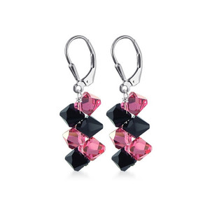 Pink & Black Crystal Leverback Drop Earrings