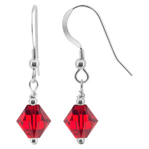 Red Crystal 925 Silver Drop Earrings
