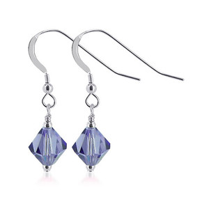Violet Crystal 925 Sterling Silver Drop Earrings