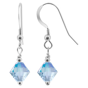 Light Violet Crystal 925 Silver Drop Earrings
