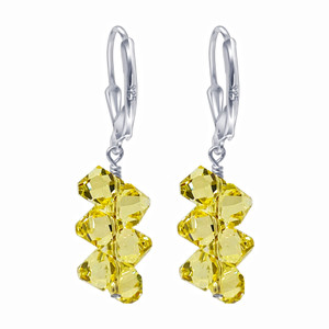 Yellow Crystal Leverback Drop Earrings
