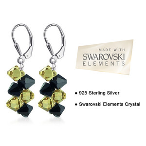 Yellow & Black Crystal Leverback Drop Earrings