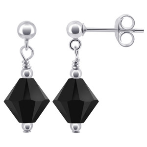 Black Crystal Post-Back Drop Earrings