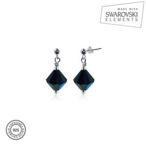 Black AB Crystal Post-Back Drop Earrings