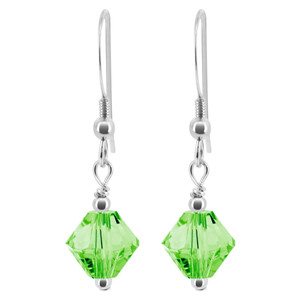 Swarovski Elements Green Crystal 925 Silver Drop Earrings