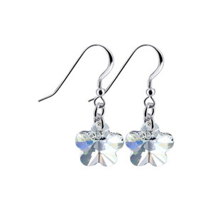Clear Flower Shape Drop Earrings