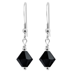 Swarovski Elements Black Crystal 925 Silver Drop Earrings