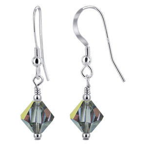 Swarovski Elements Vitrail Crystal 925 Silver Drop Earrings