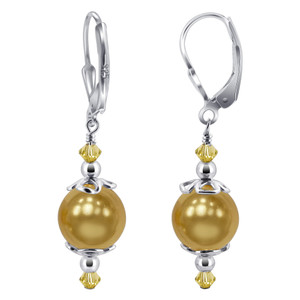 Gold Faux Pearl Leverback Drop Earrings