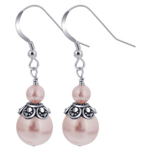 Pink Faux Pearl Handmade Drop Earrings