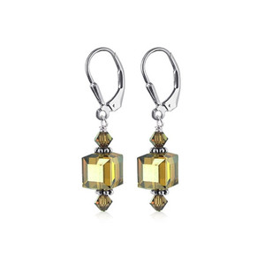 Cube Shape Yellow Crystal Sterling Silver Drop Earrings