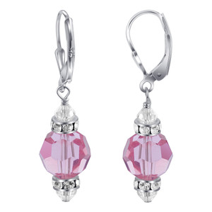 Light Rose Crystal Sterling Silver Drop Earrings