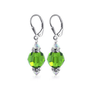 Light Green Crystal Sterling Silver Drop Earrings