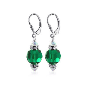 Dark Green Crystal 925 Sterling Silver Drop Earrings