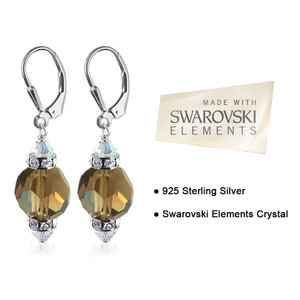 Brown Crystal Handmade 925 Silver Drop Earrings