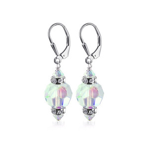 Clear AB Crystal Sterling Silver Drop Earrings