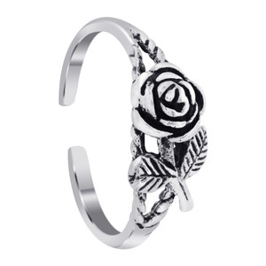 Rose With Leaves Toe Ring