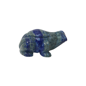 "Natural Hand Carved Lapis Lazuli Gemstone 2.5"" Frog Sculpture Figurine"