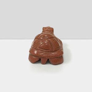 "Gorgeous Hand Carved Goldstone 2.5"" Turtle Sculpture Figurine"
