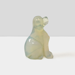 "Gorgeous Hand Carved Opalite Stone 2.5"" Dog Sculpture Figurine"
