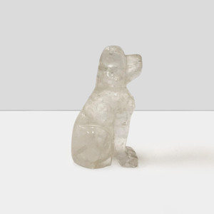 "Natural Hand Carved Clear Quartz Gemstone 2.5"" Dog Figurine Sculpture"