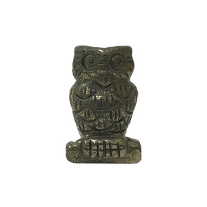 "Natural Hand Carved Pyrite Gemstone 2.5"" Owl Figurine Sculpture"