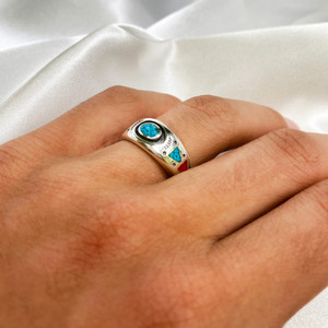 Turquoise with Coral Gemstone Band