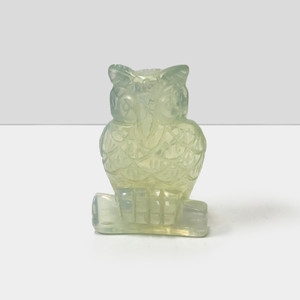 "Gorgeous Hand Carved Clear Opalite 2.5"" Owl Sculpture Figurine"