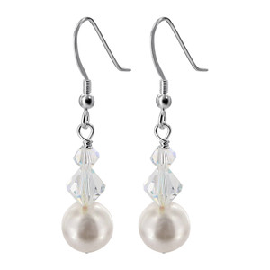 White Pearl with Clear AB Crystal 925 Silver Drop Earrings
