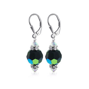 Black AB Crystal Sterling Silver Drop Earrings