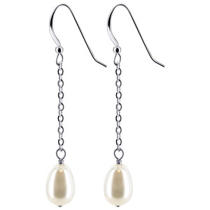 White Faux Pearl Drop Earrings