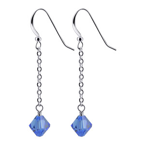 Bicone Shape Blue Crystal Sterling Silver Drop Earrings