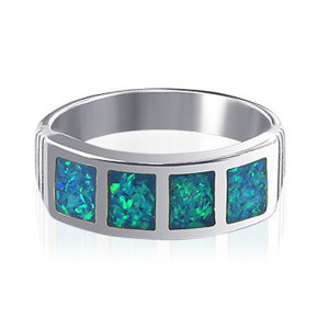 925 Sterling Silver October Birthstone Opal Inlay Ring