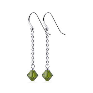 Olive Crystal Handmade Drop Earrings