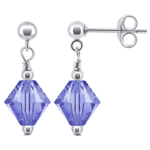 Violet Crystal Sterling Silver Drop Earrings