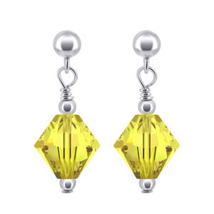 Yellow Crystal Sterling Silver Drop Earrings