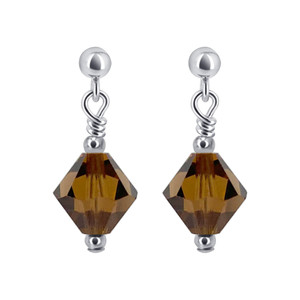 Brown Crystal Sterling Silver Drop Earrings