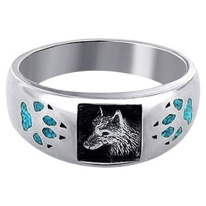 Men's 925 Silver Turquoise Inlay Wolf Head & Paw Ring