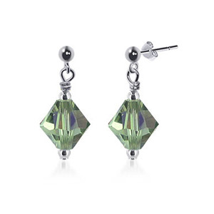 Olive Green Crystal Sterling Silver Drop Earrings