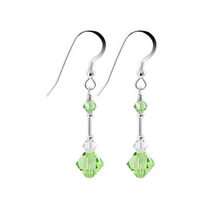 Green Crystal 925 Silver Handmade Drop Earrings