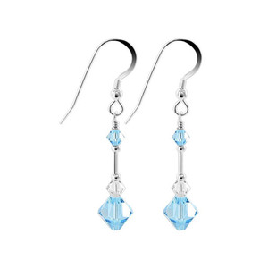 Swarovski Elements Blue Crystal 925 Silver Drop Earrings