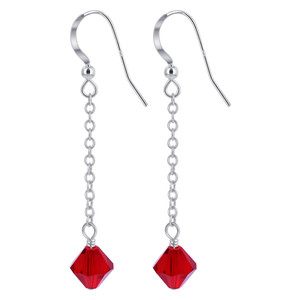 Red Crystal Sterling Silver Drop Earrings