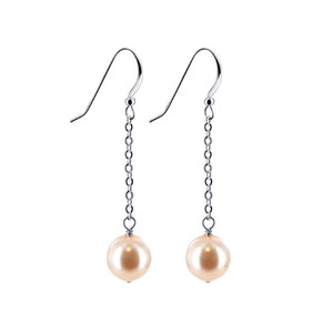 Peach Faux Pearl Drop Earrings