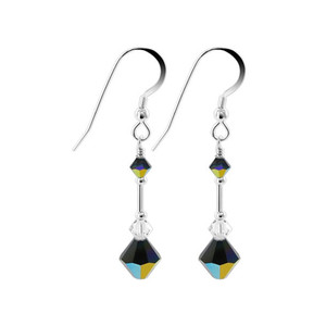 Swarovski Elements Black AB Crystal 925 Silver Drop Earrings